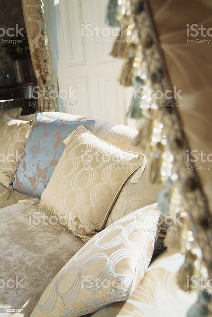 Interior of living room with curtains in foreground stock photo