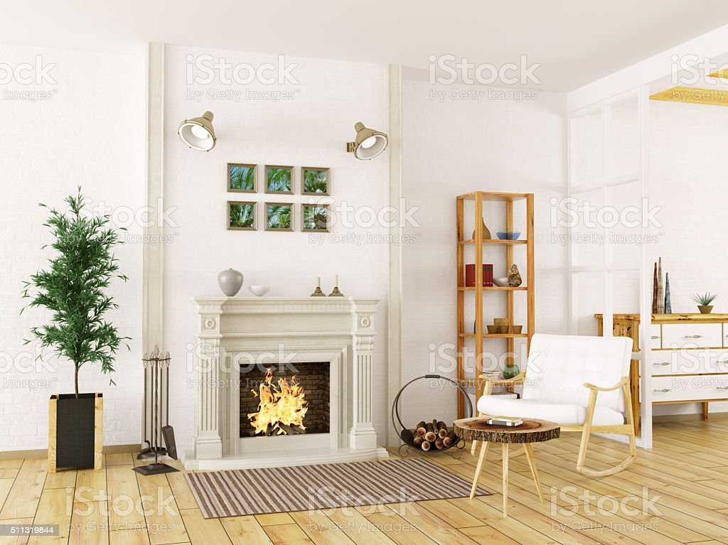 Interior of living room with fireplace 3d render stock photo