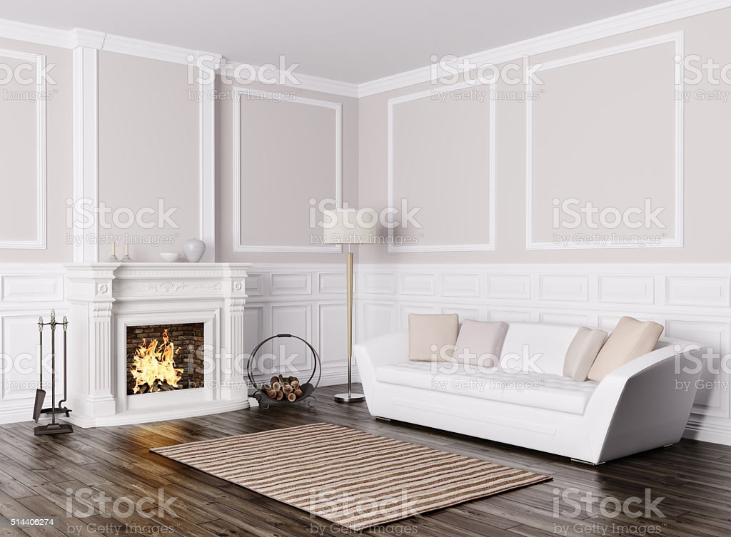 Interior of living room with sofa and fireplace 3d render stock photo