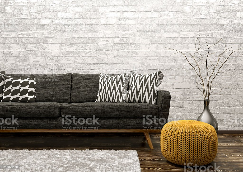 Interior of living room with sofa and pouf 3d rendering stock photo