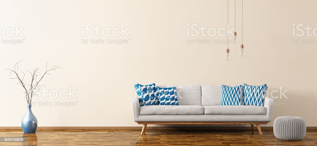 Interior of living room with sofa and pouf 3d rendering vector art illustration