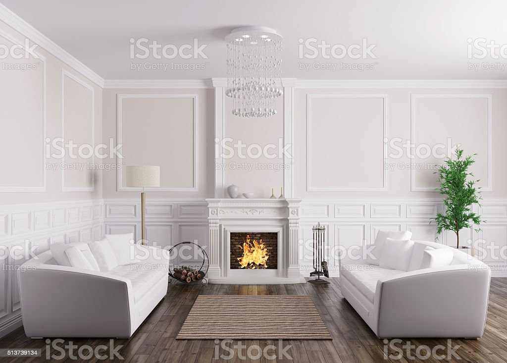 Interior of living room with sofas and fireplace 3d render stock photo
