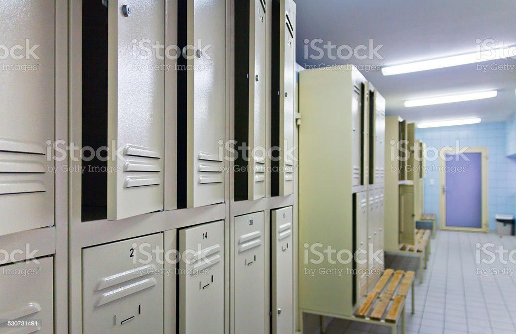 Interior of locker room stock photo