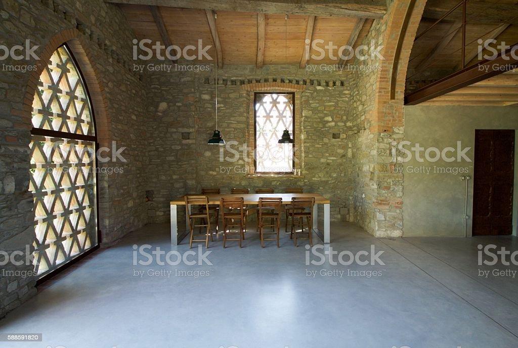 interior of loft with mezzanine in the hills stock photo