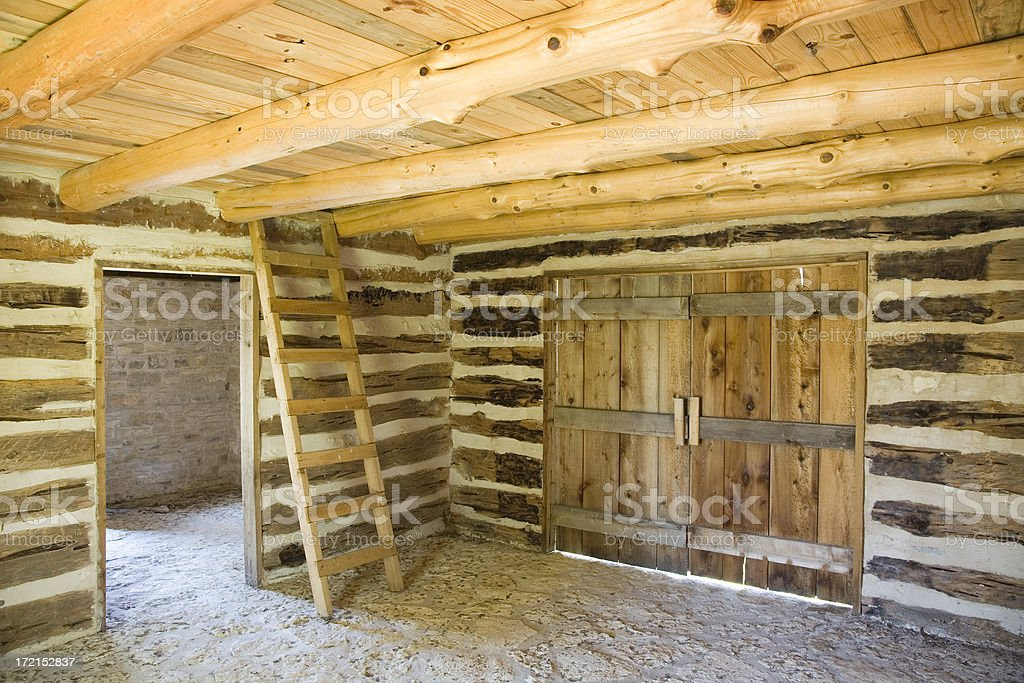 interior of log cabin royalty-free stock photo