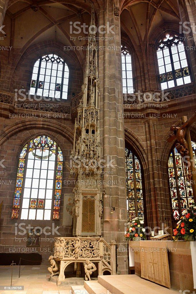 Interior of Lorenzkirche church in Nuremberg stock photo