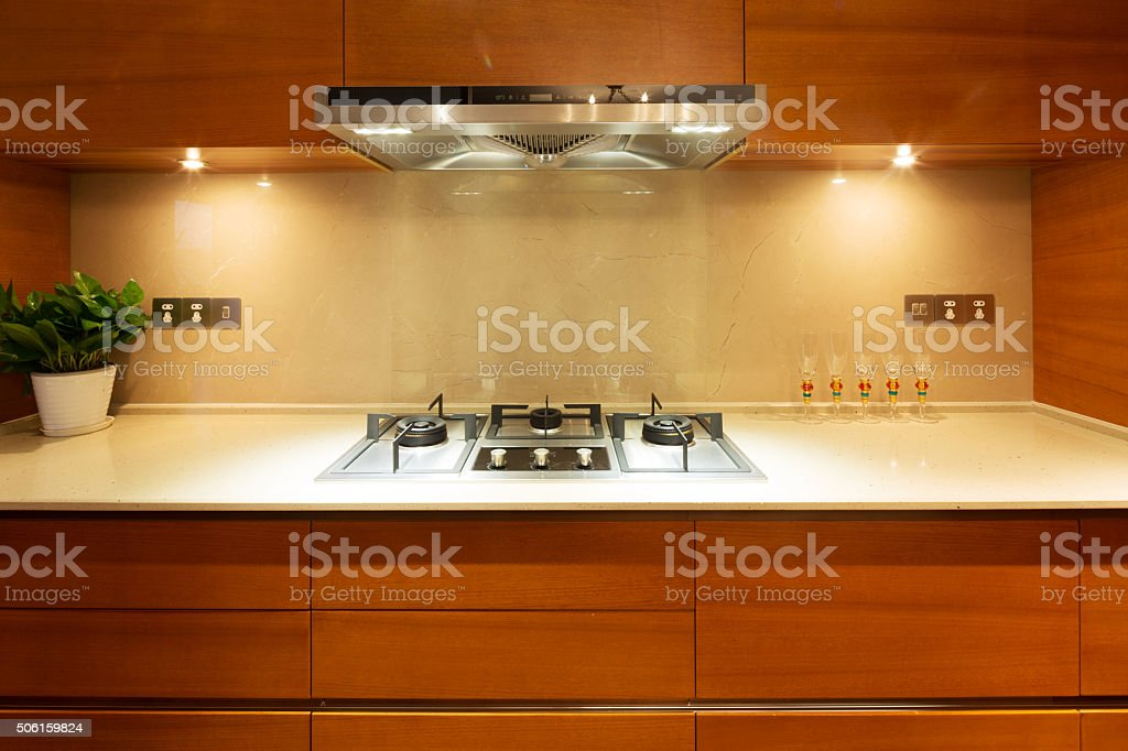 interior of luxury kitchen stock photo