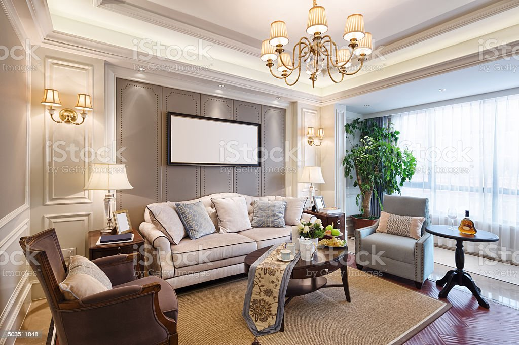 interior of luxury living room stock photo