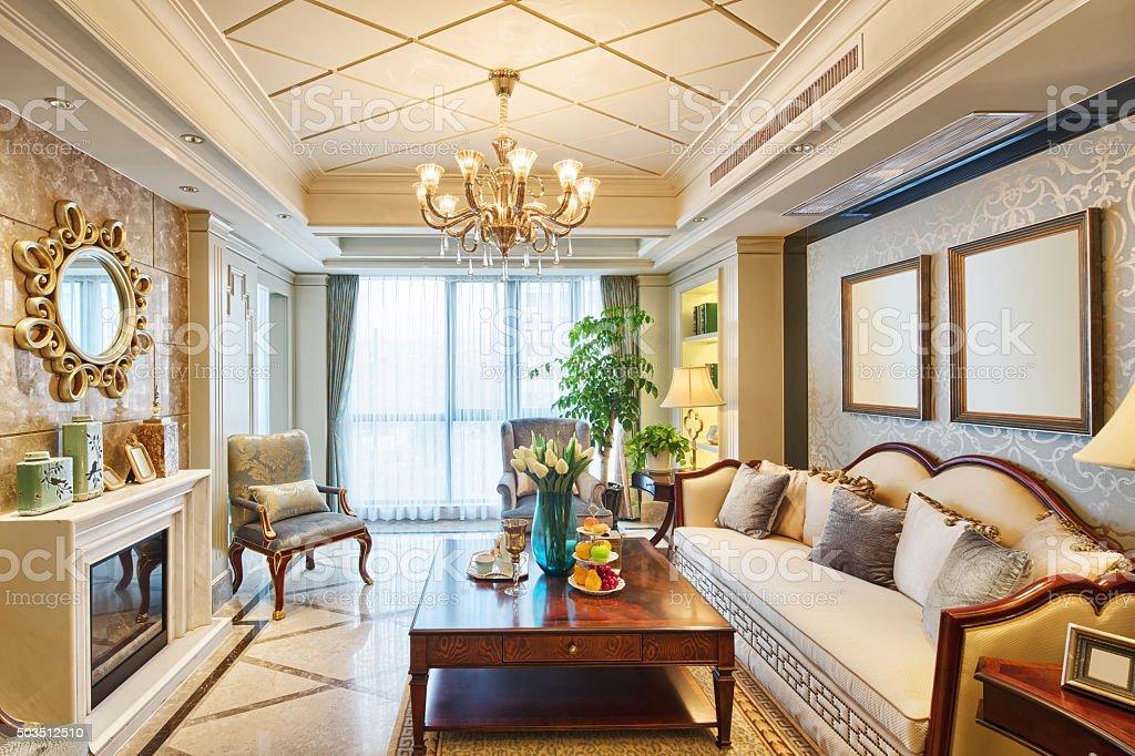 interior of luxury living room stock photo