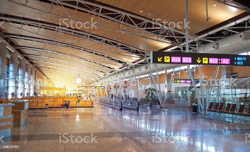 Interior of Madrid's airport, departure waiting aria stock photo