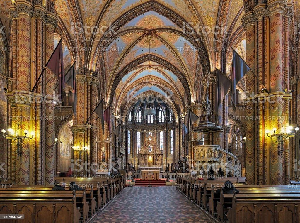 Interior of Matthias Church in Budapest, Hungary stock photo