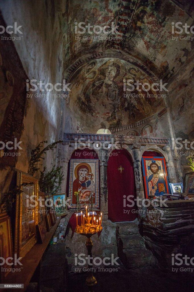 Interior of  medieval church of Virgin Mary  in Ushguli stock photo