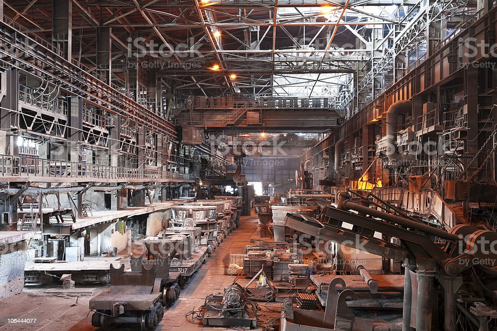 Interior of metallurgical plant workshop stock photo