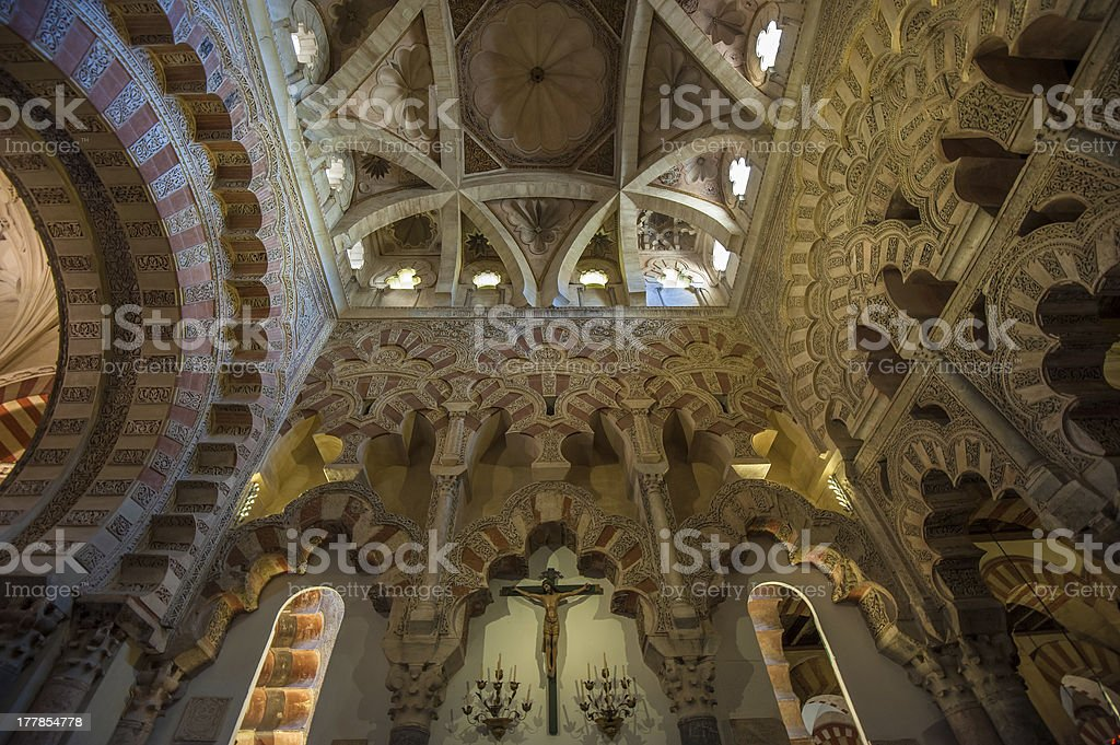 Interior of Mezquita-Catedral, Cordoba, Spain royalty-free stock photo