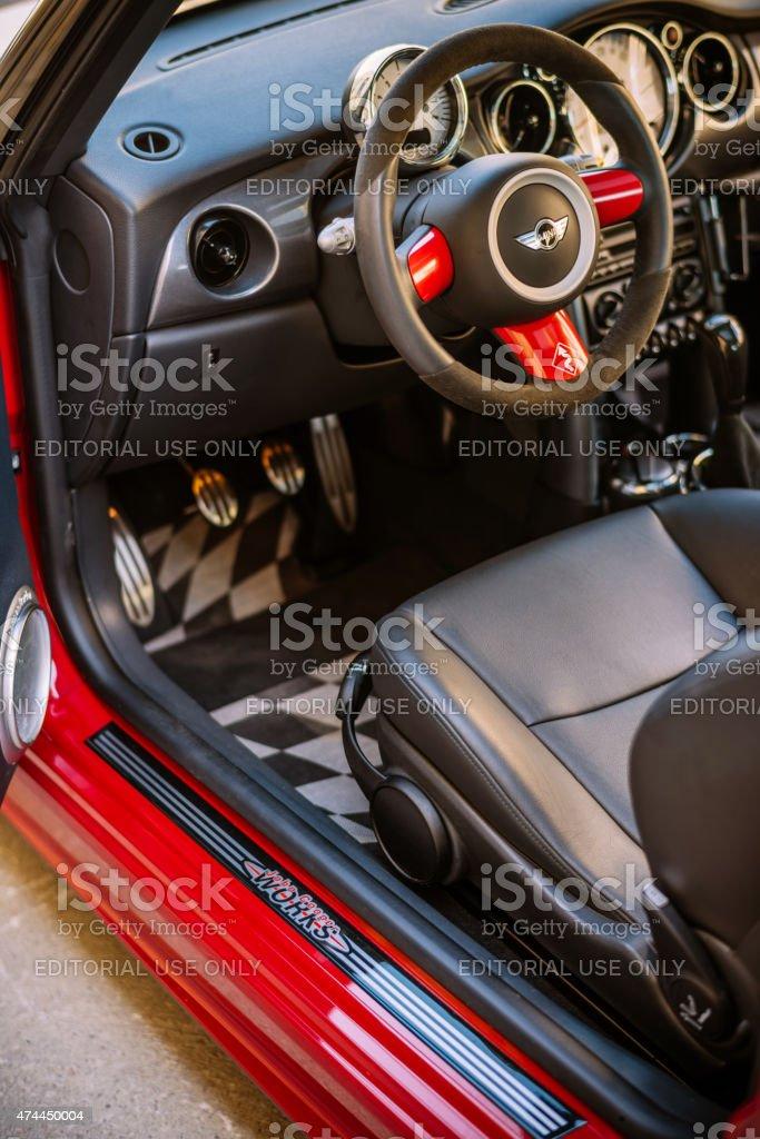 Interior of Mini Cooper S JCW stock photo