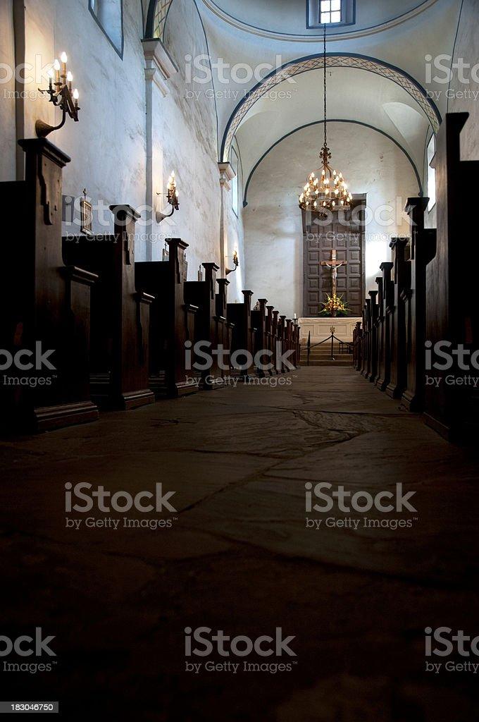 Interior of Mission in San Antonio, Texas (USA) royalty-free stock photo