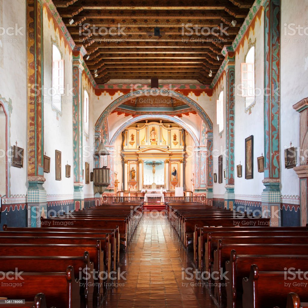 Interior of Mission San Luis Rey stock photo