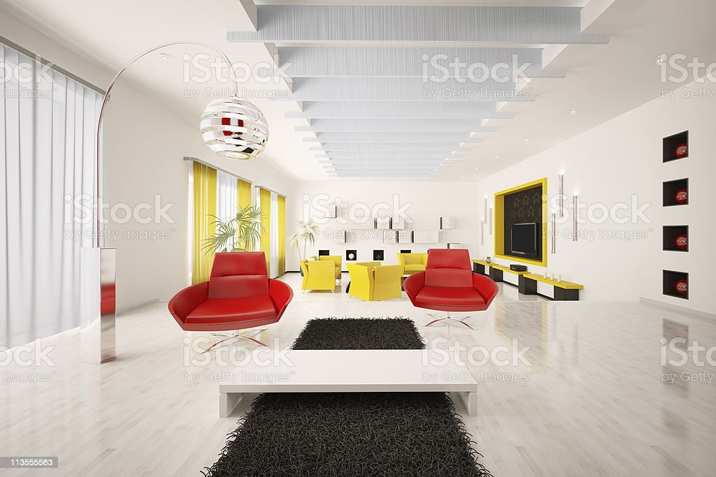 Interior of modern apartment 3d render royalty-free stock photo