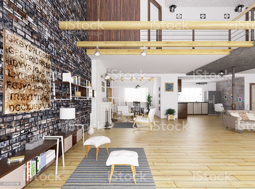Interior of modern apartment 3d render stock photo