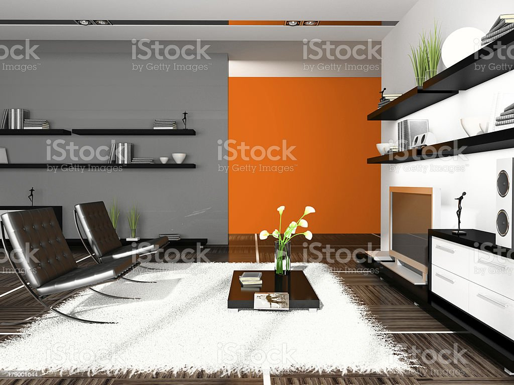 Interior of modern apartment 3D rendering royalty-free stock photo