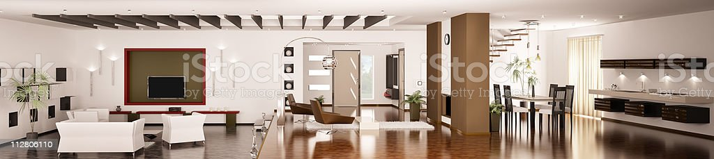 Interior of modern apartment panorama 3d render stock photo
