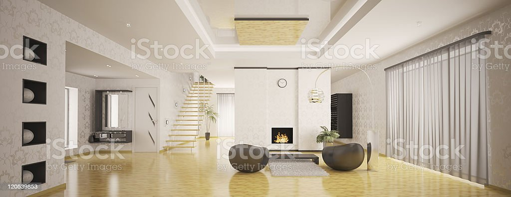 Interior of modern apartment panorama 3d render royalty-free stock photo