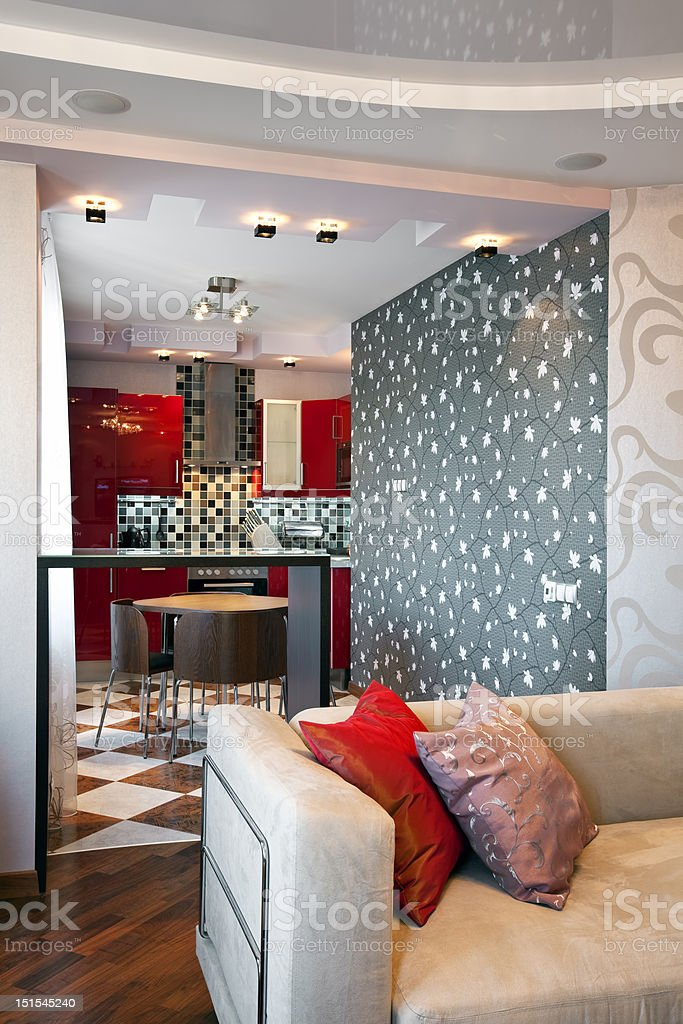 Interior of modern apartment with kitchen royalty-free stock photo