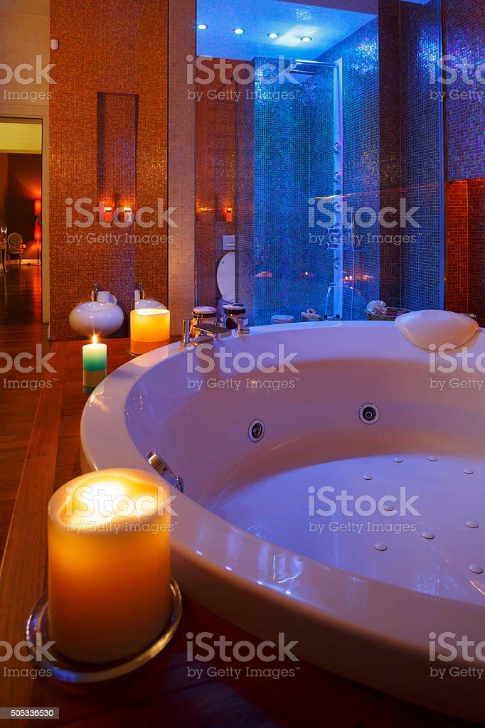 Interior of modern bathroom   Hydro massage bath and Shower stock photo