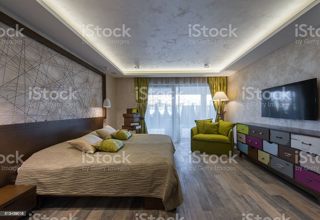 Interior of modern bedroom stock photo