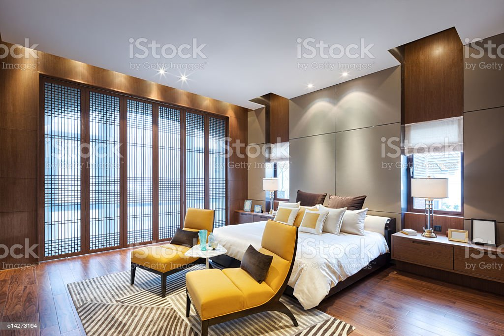 interior of modern bedroom stock photo