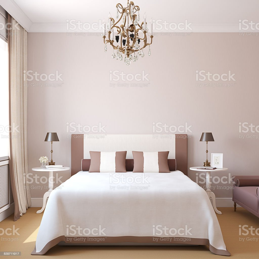Interior of modern bedroom. stock photo