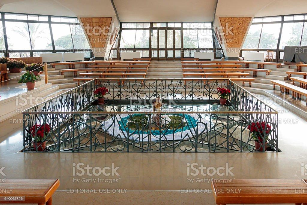 Interior of Modern Catholic church in Capernaum stock photo