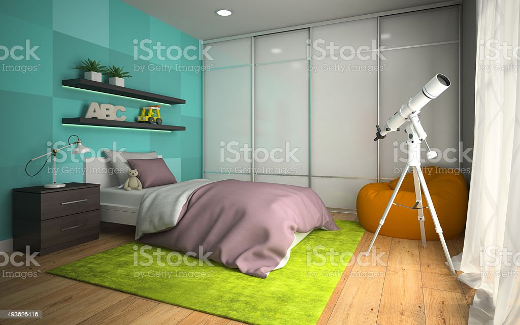 Interior of modern childroom  with blue wall 3D rendering 3 stock photo