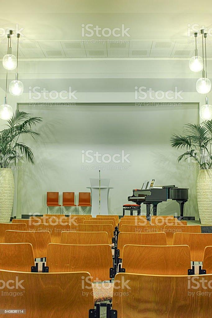 Interior of modern church stock photo