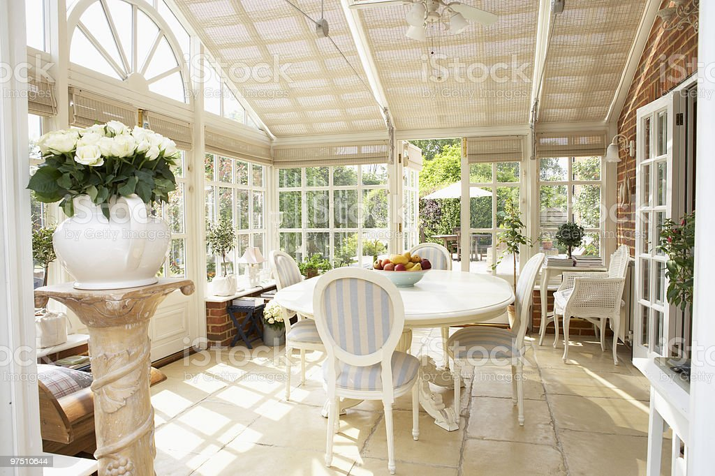 Interior Of Modern Conservatory stock photo