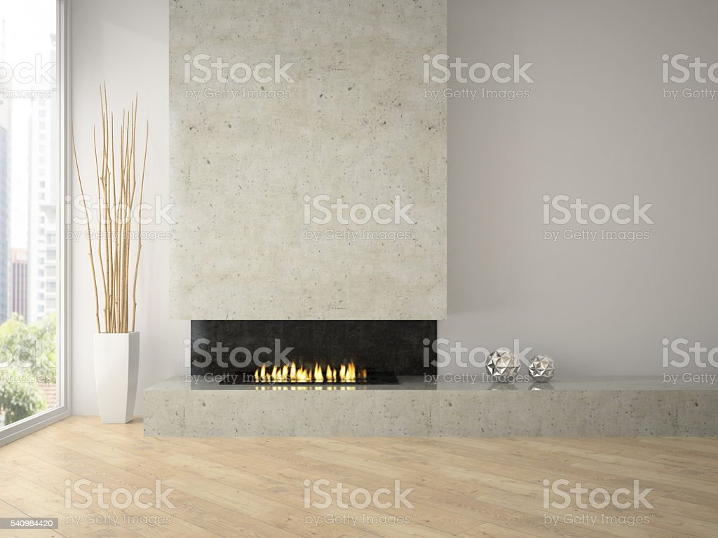 Interior of modern  design loft  with fireplace 3D rendering 2 stock photo