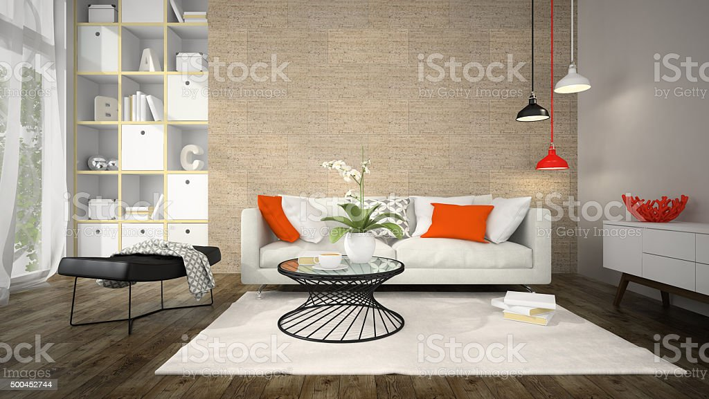 Interior of modern design room with cork wall 3D rendering stock photo