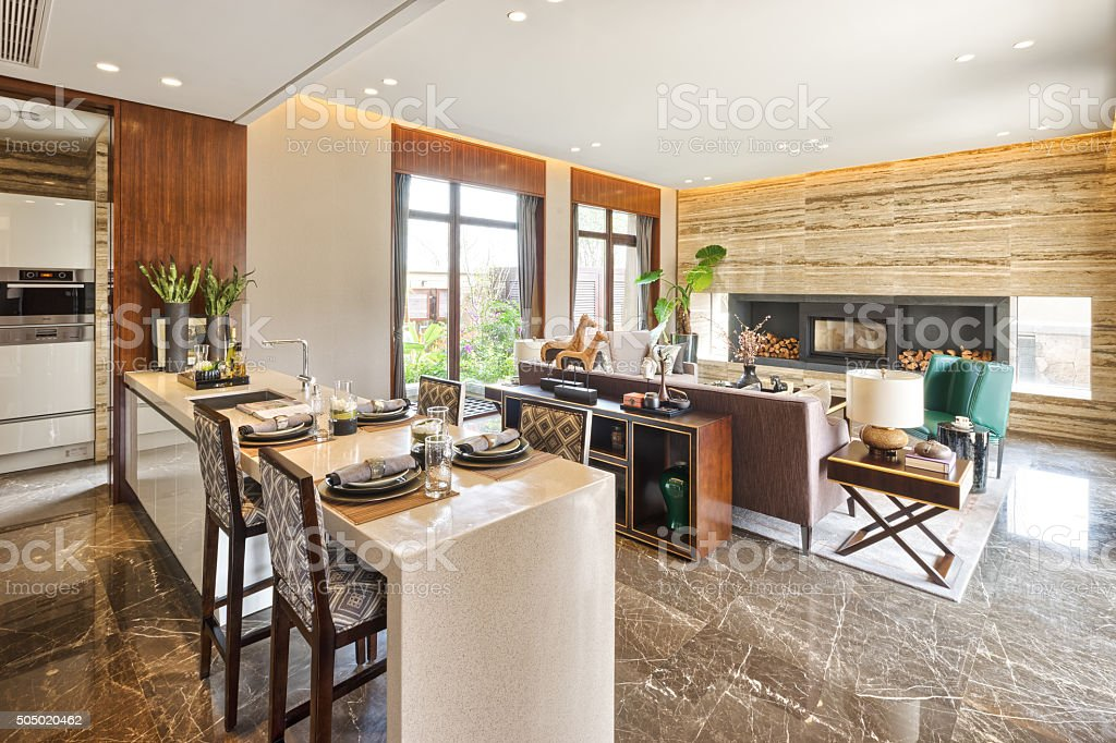 interior of modern dining room stock photo