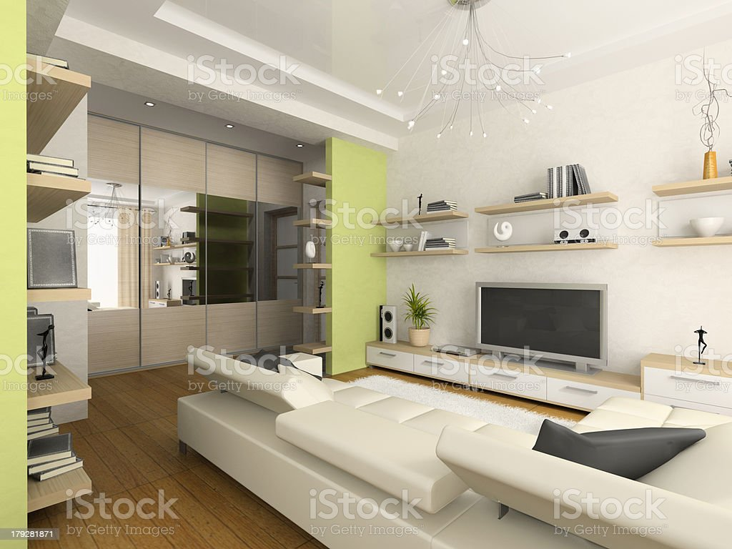 Interior of modern drawing-room 3D rendering royalty-free stock photo