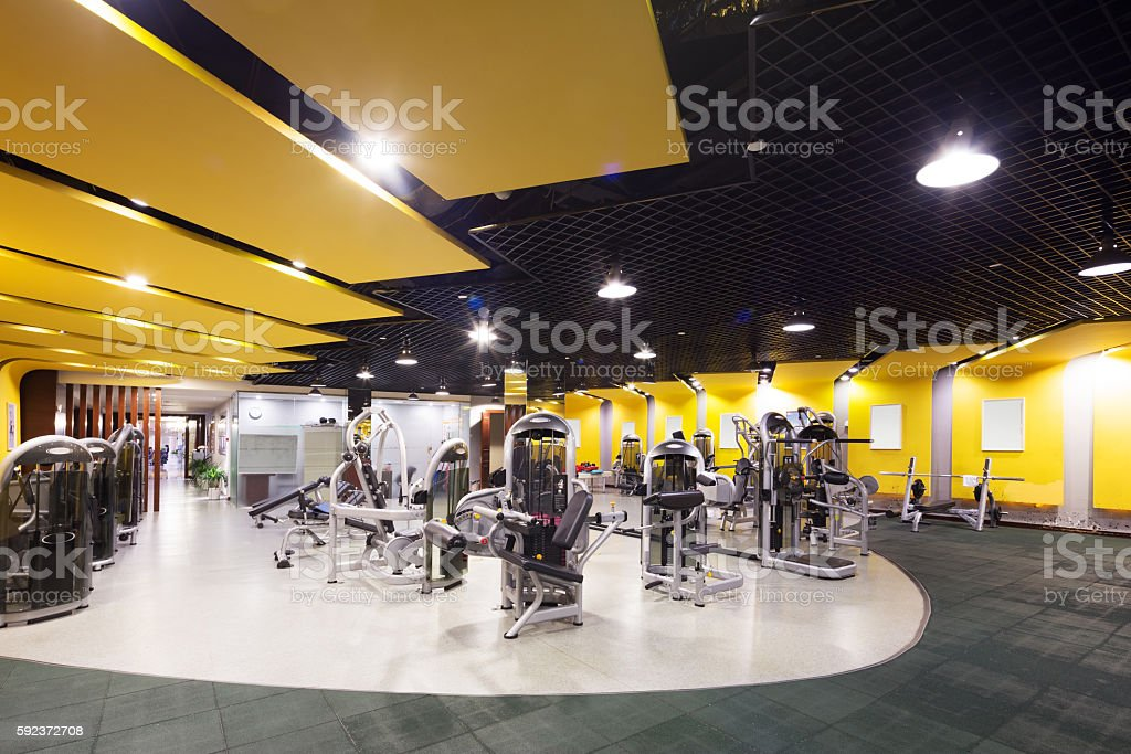 interior of modern gym stock photo