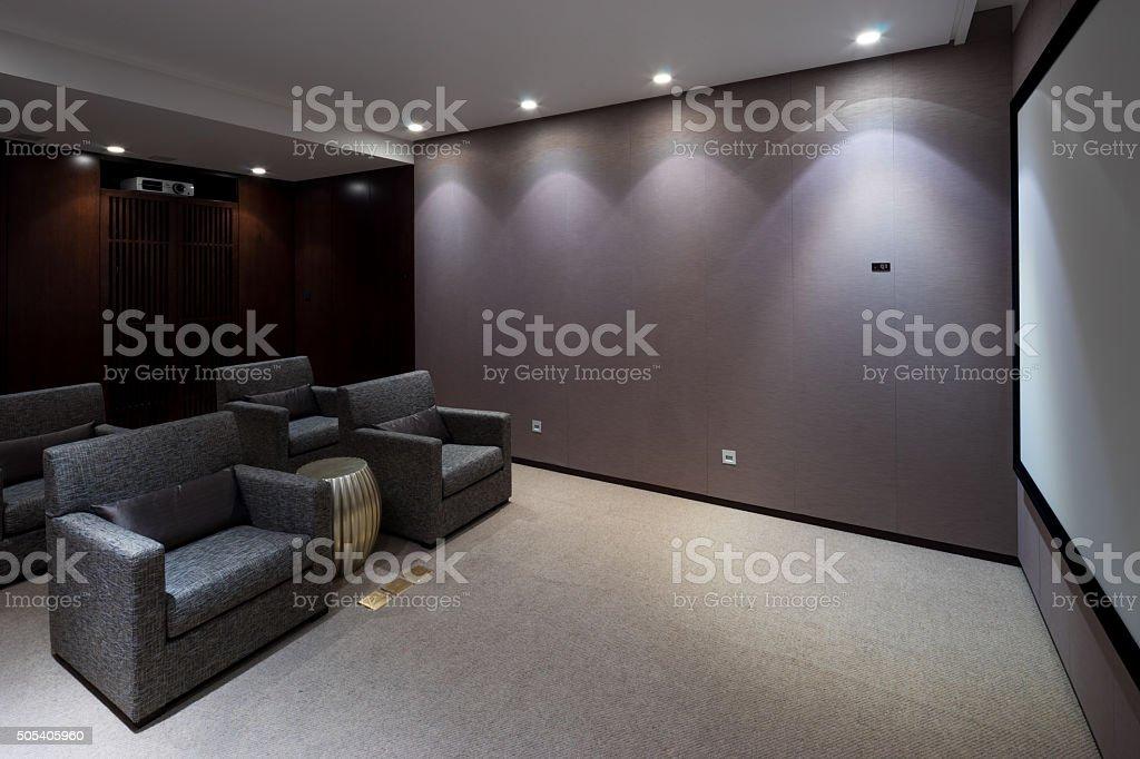 interior of modern home theatre stock photo