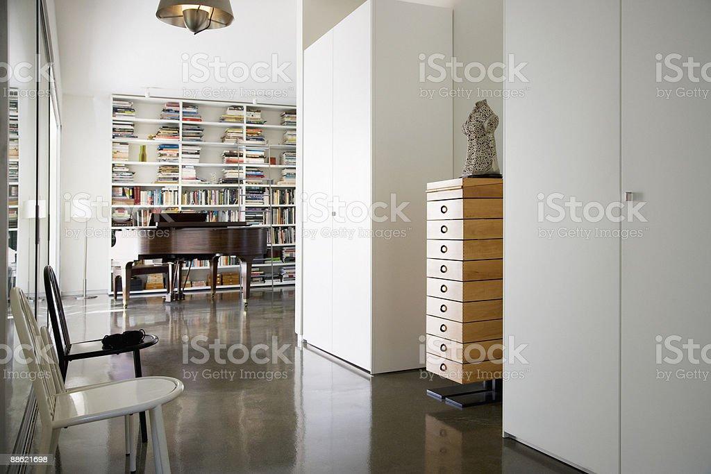 Interior of modern house, grand piano stock photo