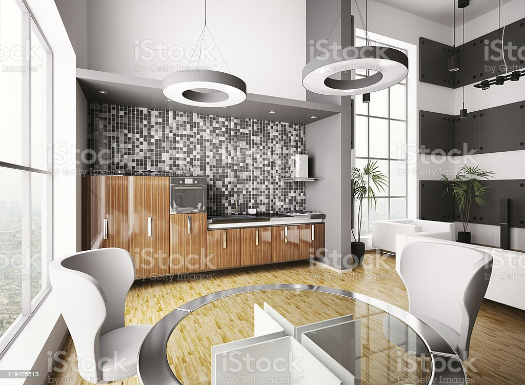Interior of modern kitchen 3d royalty-free stock photo