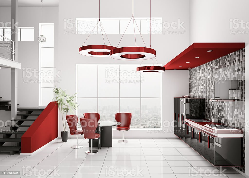 Interior of modern kitchen 3d stock photo
