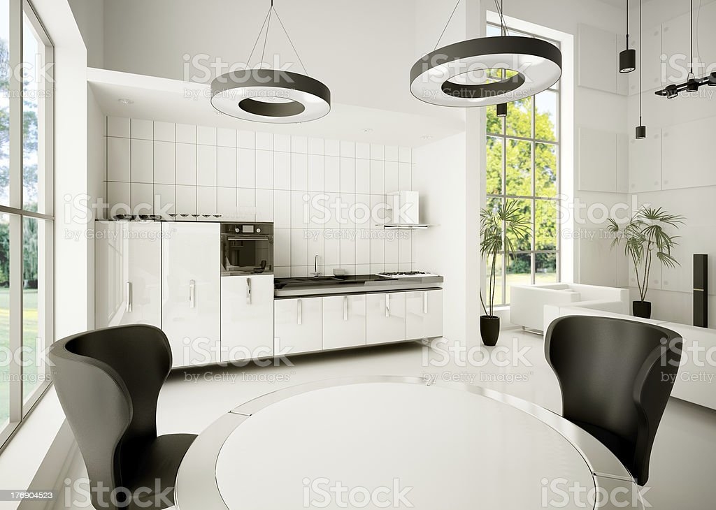 Interior of modern kitchen 3d royalty-free stock photo