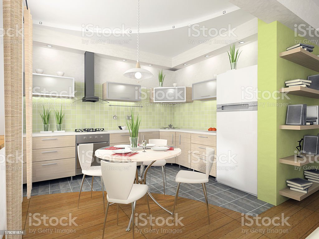 Interior of modern kitchen 3D rendering royalty-free stock photo