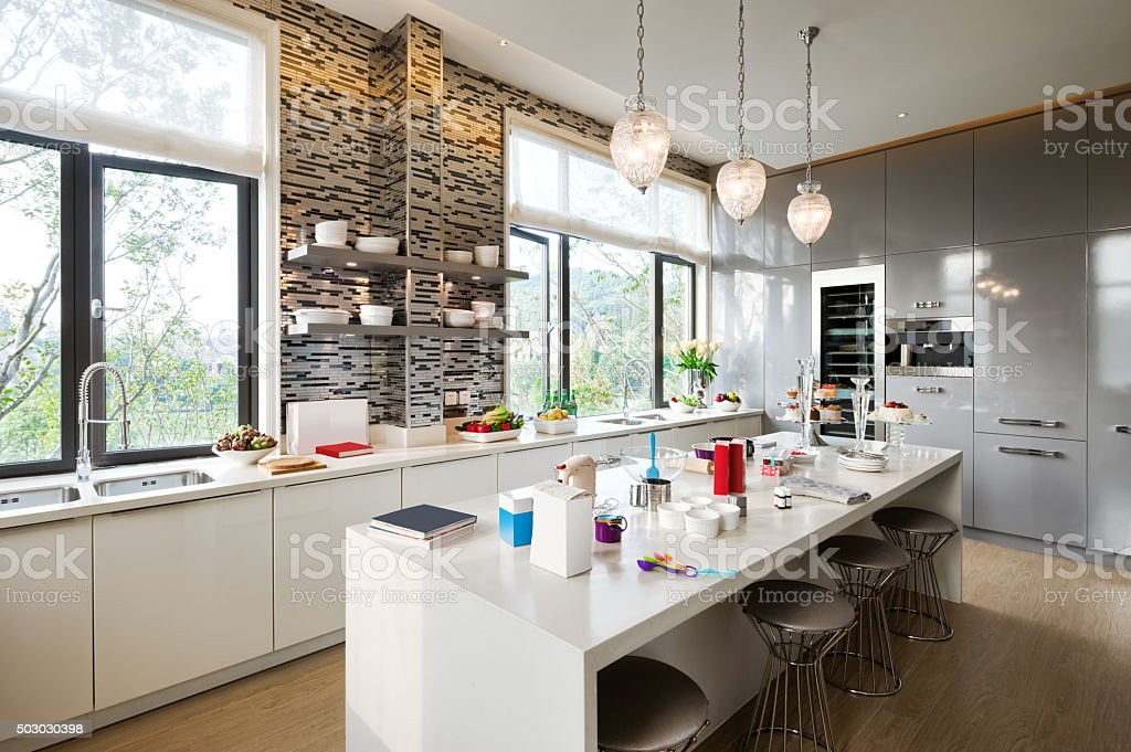 interior of modern kitchen stock photo