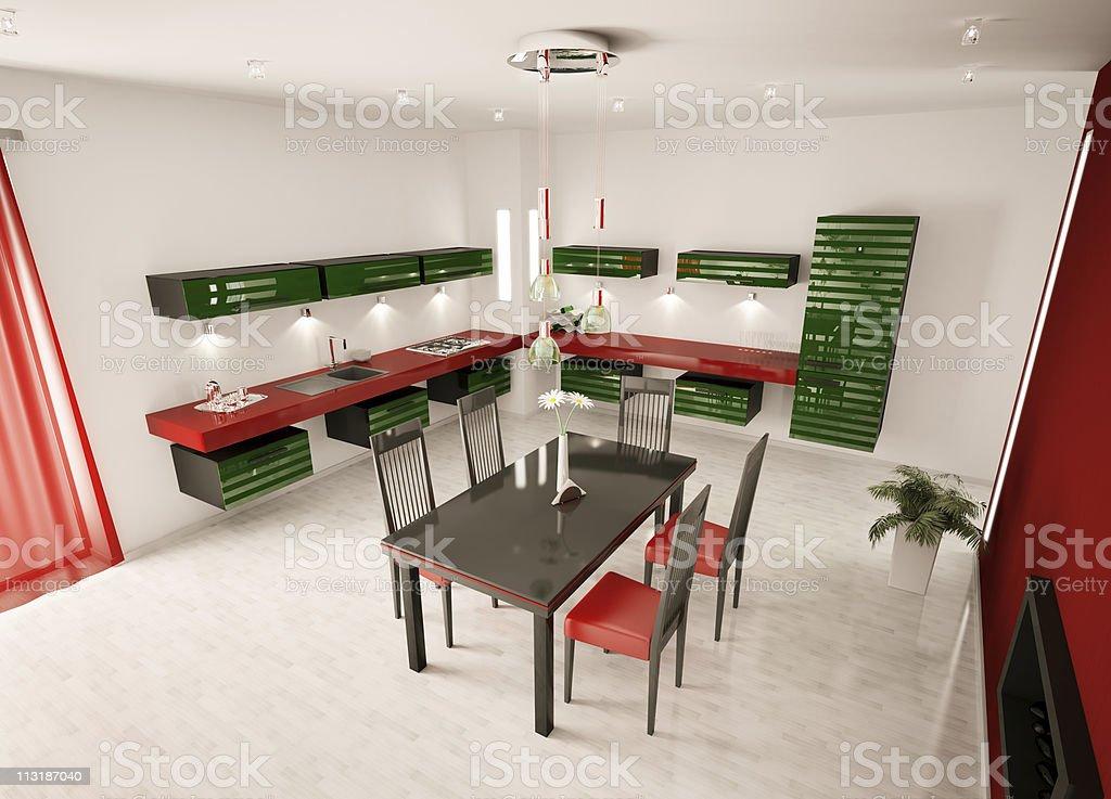 Interior of modern kitchen top view 3d render stock photo