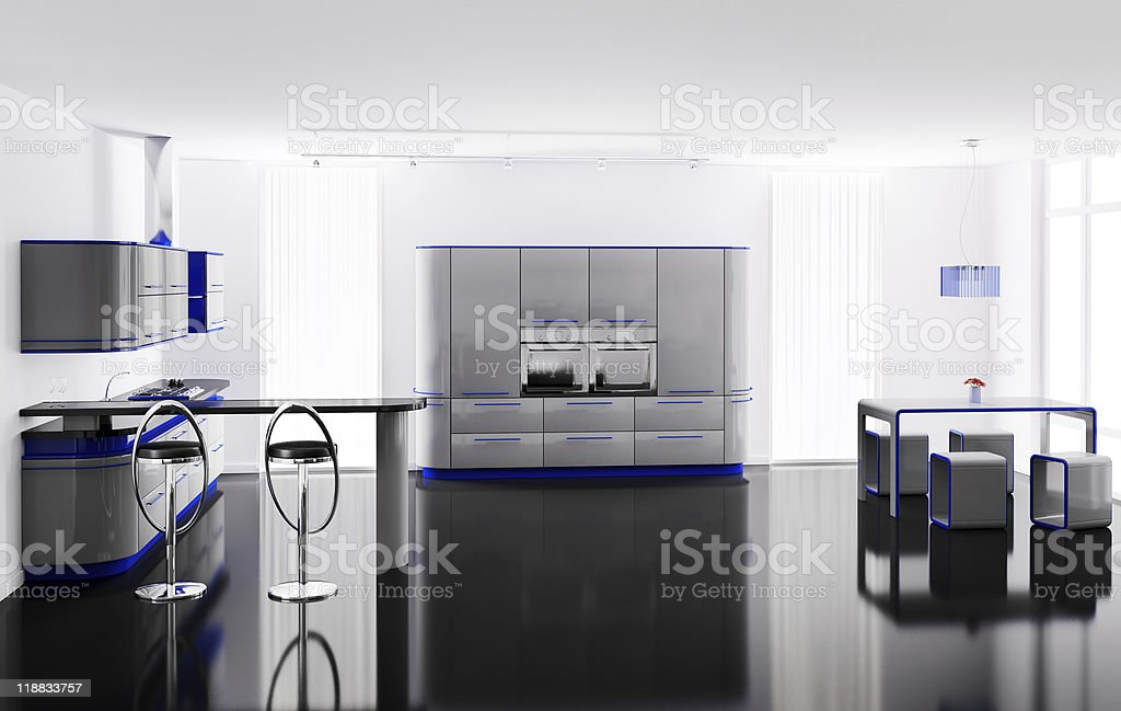 Interior of modern kitchen with bar table and stools 3d stock photo