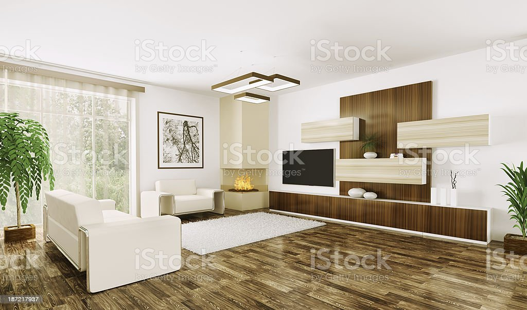 Interior of modern living room 3d royalty-free stock photo